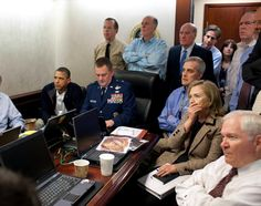 Barack Obama, Vice President Joe Biden and Secretary of State Hillary Clinton wait in the Situation Room to receive an update on a mission against Osama bin Laden on May 1, 2011.