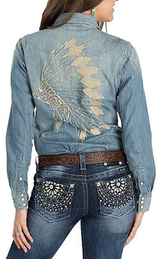 Rock & Roll Cowgirl Denim w/ Headdress Embroidery L/S Western Snap Shirt Cowgirl Style Outfits, Rodeo Outfits, Country Outfits, Western Outfits, Cowgirl Fashion, Western Dresses, Cowgirl Jeans, Cowgirl Shirts, Western Shirts