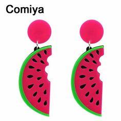 Comiya パンク夏ファッション スタイル キャンディー大きな アクリル スイカ形状フルーツ女性ドロップ イヤリング女性の ため の長い イヤリング ジュエリー