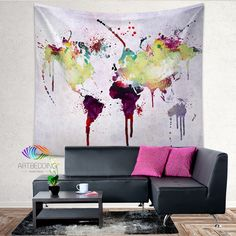 World Map Tapestry Wall Hanging world map watercolor wall tapestry size xl, grunge world map wall