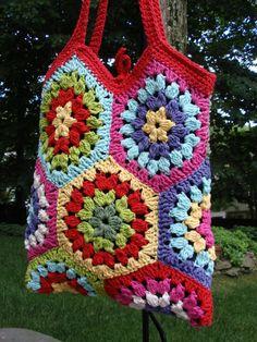 Crochet Granny Square Tote Cotton Multi by flowerbasketladybug, $59.00