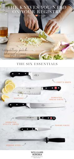 """Not sure what to register for? Start your lives together with a registry of cutlery essentials for daily kitchen tasks. Good knives can take you from """"cook"""" to """"chef""""."""