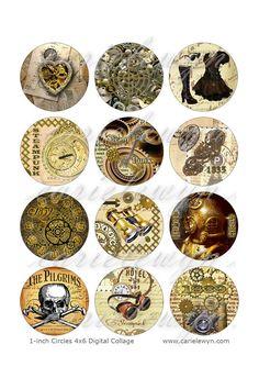 Steampunk Bottlecap Bilder / Vintage Heart, Gang, Clock, Skull / druckbare Flasche Mütze Bilder 1-Zoll-Circles / Instant Download
