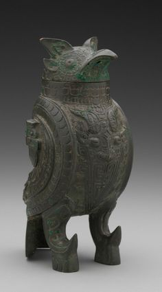 Bronze owl wine vessel. Shang Dynasty, China, 13th-11th century BCE. Yale University Art Gallery.