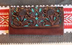 Tooled with Turquoise Trail Blazer Wallet - Pistols and Pearls