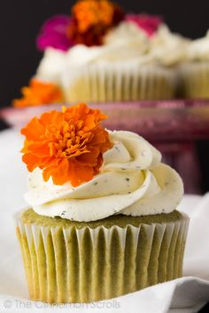 Perfect for spring! Naturally green matcha tea cupcakes topped with a creamy jasmine and honey infused buttercream frosting. #matcha #dessert