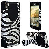 ZTE Warp Elite N9518 (Boost Mobile), LF 4 Item Bundle, Hybrid Dual Layer with Stand Case Cover, Stylus Pen, Screen Protector & Wiper Accessory (Stand Zebra)