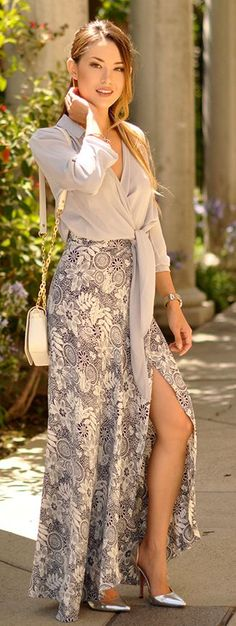 White And Grey Floral Wrap Maxi Skirt by Hapa Time