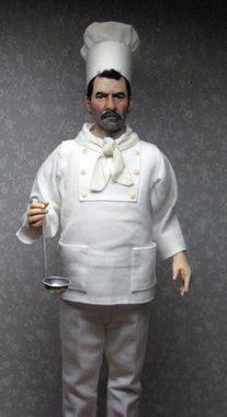 Miniature Doll Art | 1:12th scale miniature chef by artist Sharon Cariola