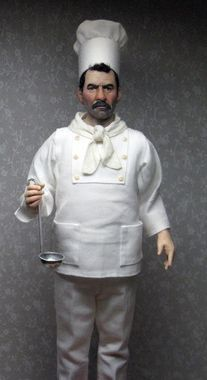 1:12th scale miniature chef by artist Sharon Cariola