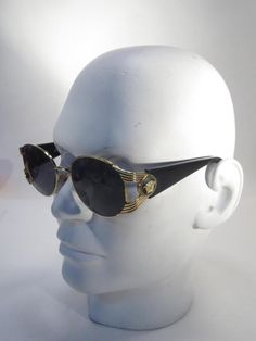 Vintage Gianni Versace S64 Gold Plated Black Medusa Iconic Sunglasses & Case *