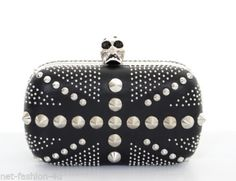 You're in our clutches now. Shop our selection of designer clutch bags. Studded Handbags, Studded Purse, Black Leather Handbags, Leather Purses, Red Leather, Alexander Mcqueen Clutch, Skull Purse, Designer Clutch, Purses