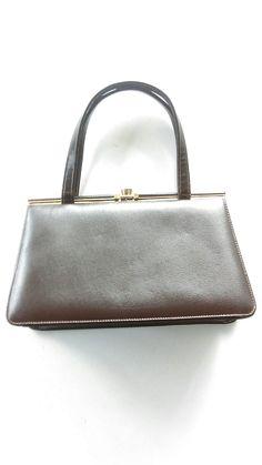 Vintage  Mid- Century Chocolate Brown Etra Designer Purse/ Genuine Leather Line Calf Skin Handbag / Classic 60's Purses / Retro / Mod by JulesCristenVintage on Etsy
