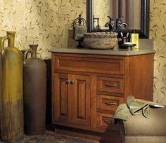 Fieldstone Cabinetry LaSalle door style in Cherry finished in Nutmeg.