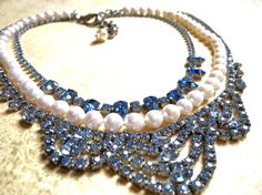 Something Blue Necklace- Pearl Rhinestone Necklace -Bridal Statement necklace-Pearls Jewelry- Tom Binns Inspired This beautiful chunky pearl bib n. Vintage Wedding Jewelry, Bridal Jewelry, Blue Necklace, Rhinestone Necklace, Etsy Handmade, Handmade Jewelry, Handmade Gifts, Tom Binns, Vintage Necklaces