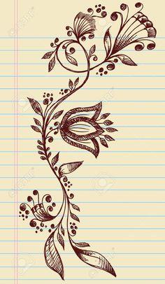Sketchy Doodle Henna Elegante Blumen und Reben Hand Drawn Vector