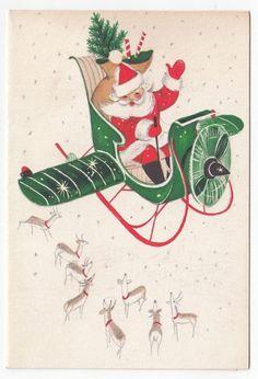 Vintage Greeting Card Christmas Santa ClausFlying Airplane Reindeer…