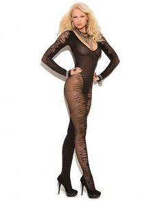 Fishnet Long Sleeve Sheer Jacquard Bodystocking Black One Size Women Sexy #ElegantMoments