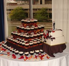 Fall Wedding Cake and Cupcake Tower by JMC Custom Cakes, via Flickr