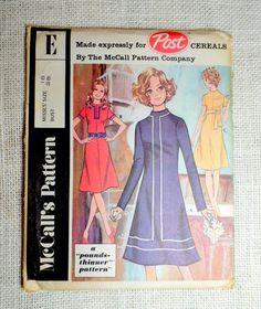 Vintage Pattern McCall's Post Pattern E 1960s dress Bust 38 Mod roll collar color block 1960s 1970s asymmetric