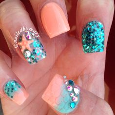 Mermaid sea ocean beach teal glitter starfish Swarovski crystals acrylic nails