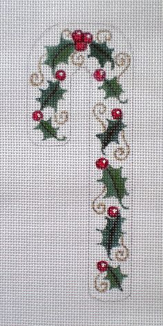 """Needlepoint Canvas Handpainted 6"""" Candy Cane Holly and Berries on 18ct."""