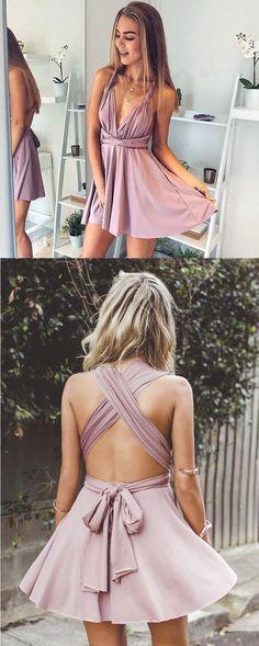 short homecoming gowns, deep V-neck dresses, blush dresses, halter dresses