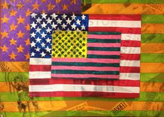 Jasper Johns inspired mixed media project.    Students collages 9/11 words and images onto cardboard. Then the American flag was painted over top and the three pieces were mounted on top of one another.