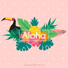 Pink aloha background with toucan and leaves Free Vector Palm Tree Background, Background Vintage, Vector Background, Tropical Art, Tropical Vibes, Surf Vintage, Logo Fleur, Toucan, Photos Hd
