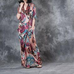 Front Cross Leaf Prints Plus Size Maxi Dress Back Slit Vintage Designer Dress    #frontcross #vintage #plussize #maxi #dress #slit #designer #customized