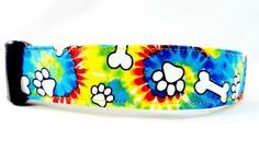 Groovy Tie Dye Dog Collar Puppy Paws and Bones Yellow by Maltipaws, $12.50