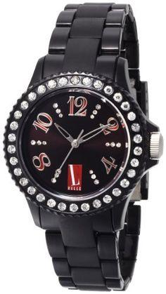 L by ELLE Women's LE50001P02 Black Plastic Stones Watch L by ELLE. $29.50. Water-resistant to 33 feet (10 M). Black dial watch. Fashion plastic analog watch. Black plastic watch. Japan Analog-Quartz movement
