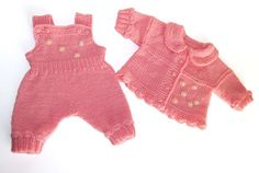 Pink knitted set for baby girl 04 months. Jaket by iziknittings