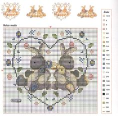 Rabbits in a Heart Cross Stitch For Kids, Cross Stitch Heart, Cross Stitch Animals, Cross Stitching, Cross Stitch Embroidery, Embroidery Patterns, Cross Stitch Designs, Cross Stitch Patterns, Easter Cross