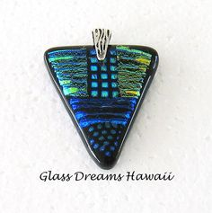Fused Glass Pendant, Dichroic Glass, Hawaii Glass Jewelry, Handmade Patchwork Pendant, Fused Glass Jewelry, Fashion Pendant by GlassDreamsHawaii