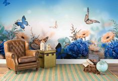 3D Watercolor Floral Blue Butterfly Wallpaper Mural Peel and | Etsy