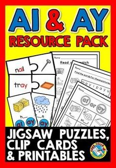 #PHONICS #SOUNDS: #AI AND #AY #VOWEL #TEAM #RESOURCE #PACK: #PRINTABLES, #CLIP CARDS & MORE! This resource pack is a great tool to practice the vowel teams 'ai' and 'ay' in a fun and motivating way! Included are clip cards, jigsaw puzzles and printables containing attractive and clear pictures!   #LITERACY #CENTER
