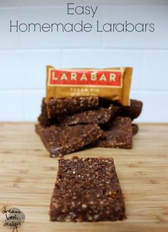 Easy homemade larabars for a fraction of the cost of store bought ones! Dairy free, gluten free,  refined sugar free! on dreambookdesign.com