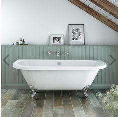 Admiral 1685 Back To Wall Roll Top Bath + Chrome Leg Set - Victorian Plumbing