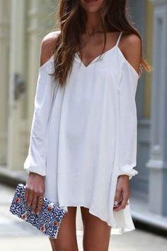 Spaghetti Strap Long Sleeve Asymmetric White Dress WHITE: Casual Dresses | ZAFUL
