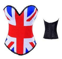 Punk Rock Union Jack Tattoo Corset Top Halloween Costume s 2XL | eBay