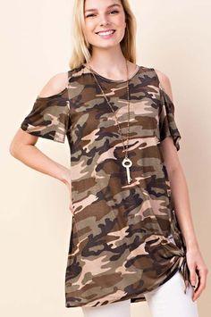 04c4662d40c341 Karter Army Print Open Shoulder Top   Army – GOZON Boutique Army Print