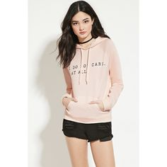 Forever 21 Women's  Do Not Care Graphic Hoodie ($20) ❤ liked on Polyvore featuring tops, hoodies, forever 21 hoodie, raglan top, sweatshirt hoodies, long hooded sweatshirt and forever 21 hoodies