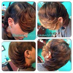 Under cut with ombre bangs @scissorhappychante - http://www.blackhairinformation.com/community/hairstyle-gallery/relaxed-hairstyles/cut-ombre-bangs-scissorhappychante/