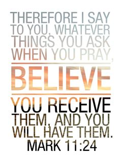 "#scripture""Therefore I tell you, whatever you ask for in prayer, believe that you have received it, and it will be yours"" (Mark 11:24, NIV) Has God spoken things to your heart that haven't come to pass yet?..."