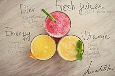 Fresh juices: Diet, Energy, Vitamin