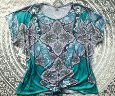 ROZ & ALI PAISLEY EXOTIC PRINTED BOHO TOP BLOUSE PLUS SIZE 3X NEW SEA GREEN  #ROZALI #Blouse #Casual
