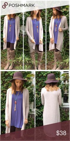 """Must Have Duster Cardigan Must Have Oatmeal Cardigan   Open long Cardigan in color oatmeal to match just about anything. Made of rayon and spandex. Super stretchy  Small Bust 36"""" length 37""""  Medium Bust 38"""" Length 37""""  Large Bust 40"""" Length 37"""" Threads & Trends Sweaters Cardigans"""