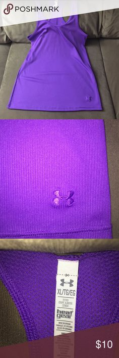 Under Armour Tank Size XL Excellent condition. No flaws. Purple color. Fits true to size. It is stretchy. 94% polyester 6% elastane. Lowest offer is the price listed. No trades or Mercari. Price firm unless bundled Under Armour Tops Tank Tops