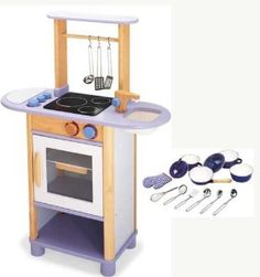 Wooden Play Kitchen Combo With Cutlery - Lilac from Pintoy - Pintoy Toys £129.98